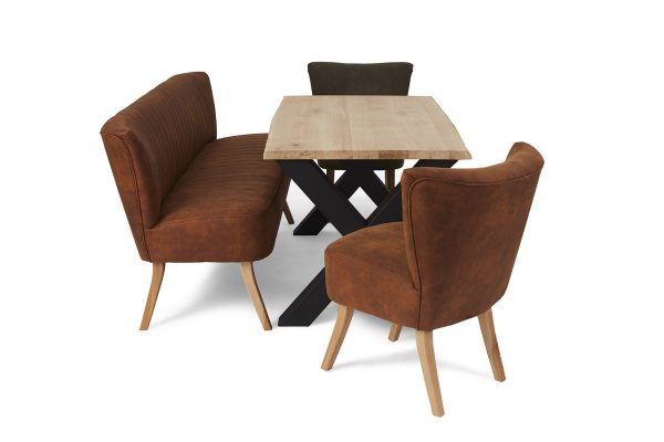 Craig eetkamer set - 2 zits bank + 2 fauteuils + eetkamertafel