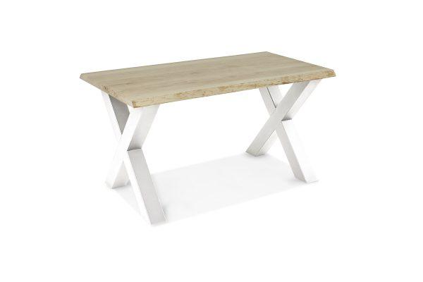 Eetkamertafel Stanley Ruw - Dubbele x poot wit